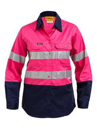 Bisley Pink Womens Workwear 2 Tone Shirt
